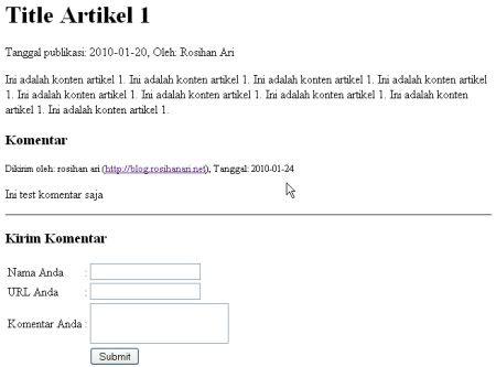 Script PHP MySQL - Membuat Komentar Ala Blog