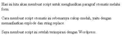 Script PHP Paragraf Otomatis Via Form