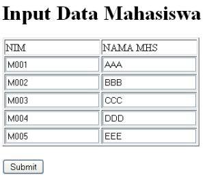input data form simultan